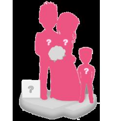 Figurine personnalisée mariage (100%) + 1enfant + décor M