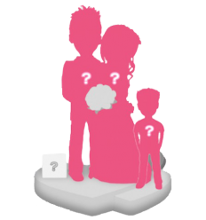 Custom wedding bobbleheads + 1 Kid + Background size S