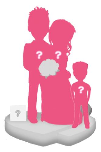 Figurine personnalisée mariage (100%) + 1 enfant + Accessoire S