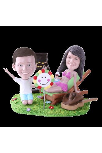 Figurine personnalisée maman enfant