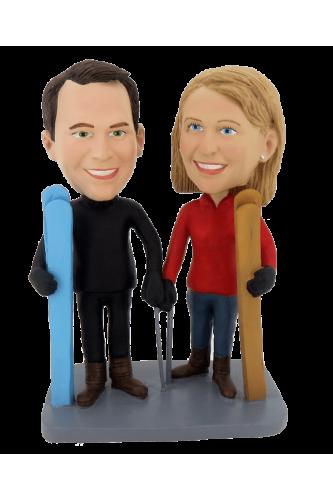 Figurine personnalisée les skieurs