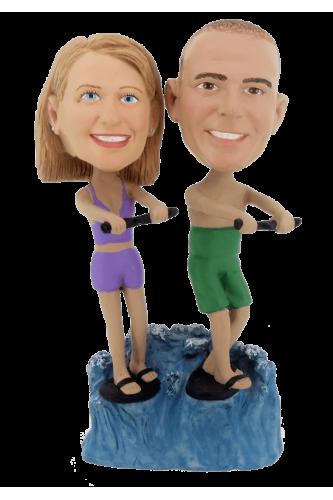 Custom bobbleheads water skiing