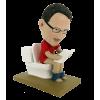 Custom made bobbleheads reading in the toilet