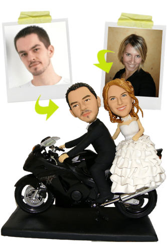 Full custom wedding bobbleheads + motorcycle
